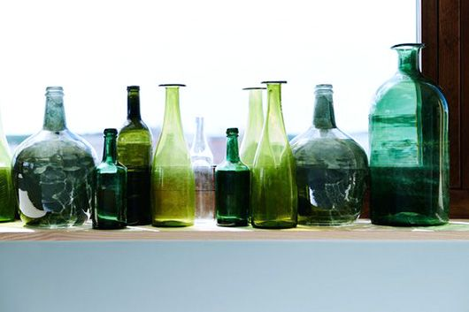 glass jars in shades of green