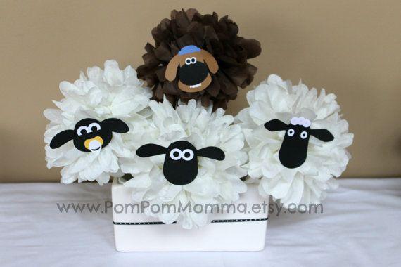La oveja Shaun inspirada pieza central de la fiesta por PomPomMomma