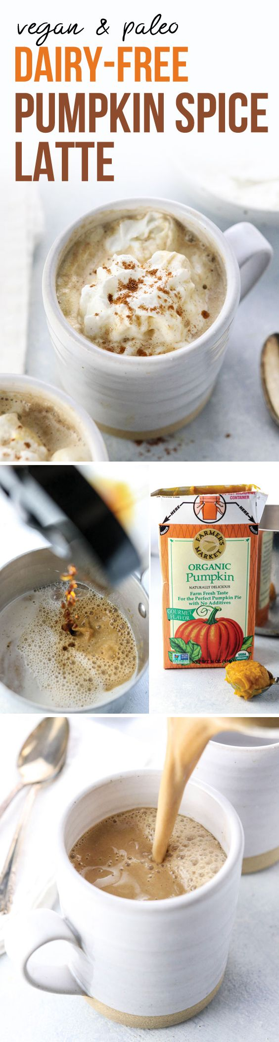 This dairy-free Pumpkin Spice Latte is made with almond milk and a splash of maple syrup for a naturally sweetened drink. Vegan & Paleo.