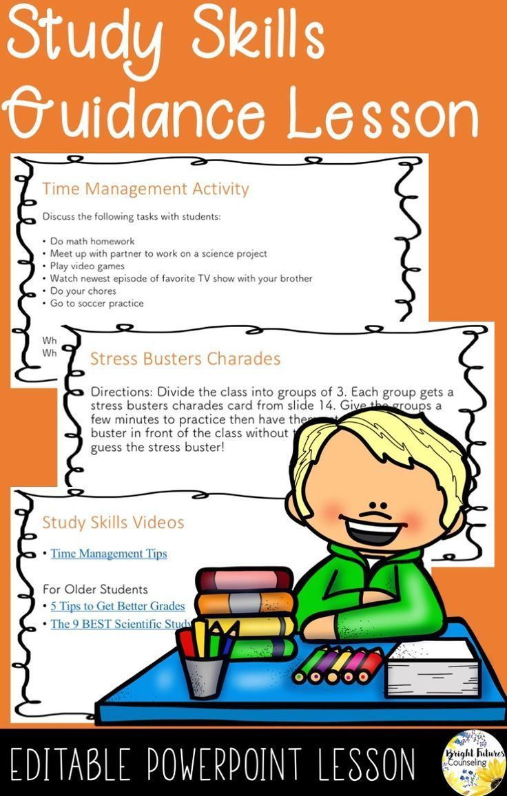 Study Skills Guidance Lesson For Elementary Students Help Students Learn Study Skills To Use At Home And At S Study Skills Guidance Lessons Counseling Lessons