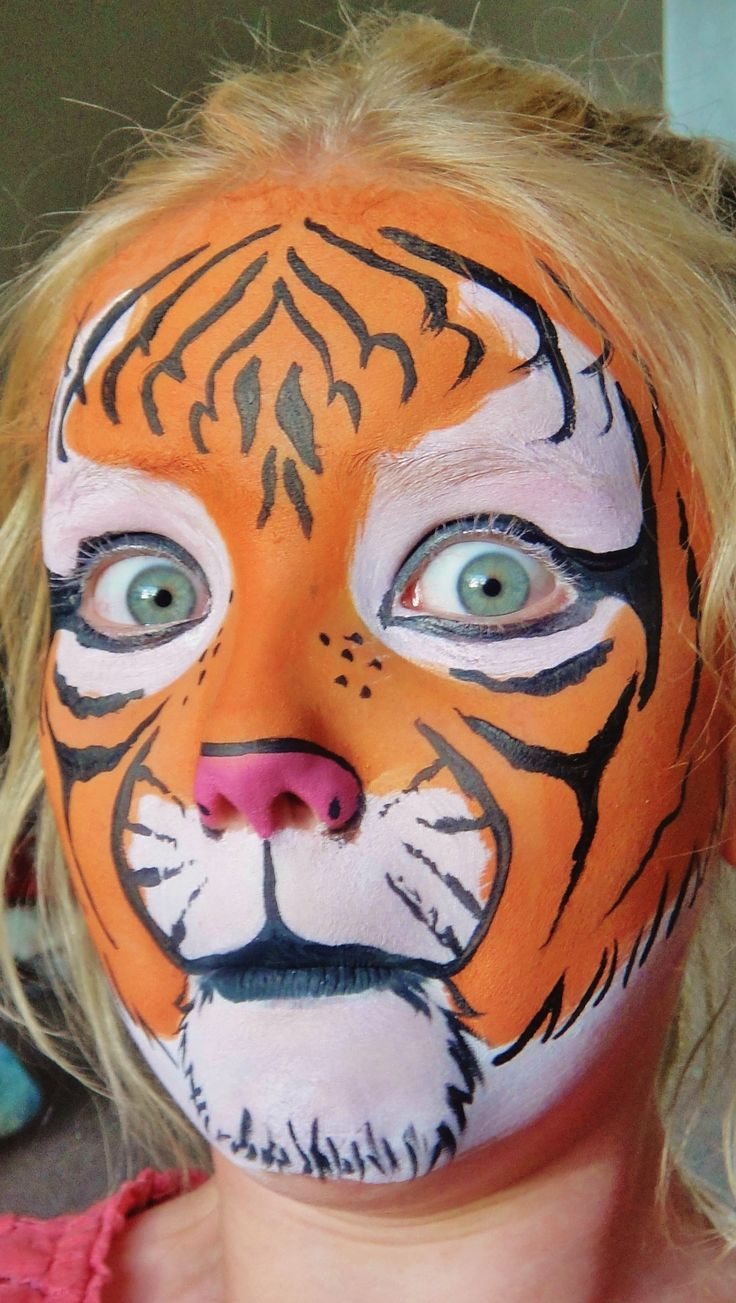 Funny Tiger face paint kids fun clown carnival fair festival silly