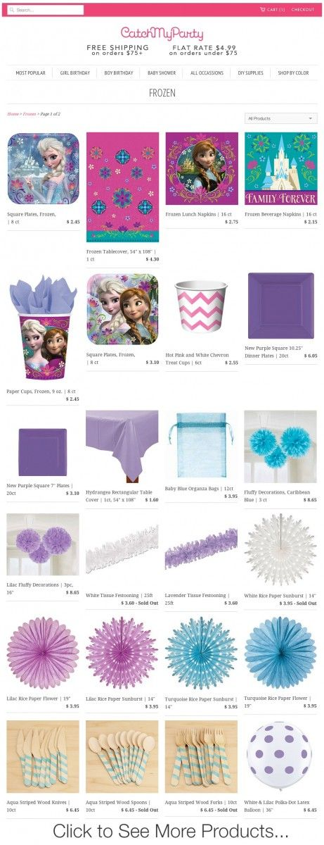 Frozen party supplies from the Catch My Party Store. There's everything here to throw a beautiful Frozen party! See more Frozen party ideas at CatchMyParty.com.