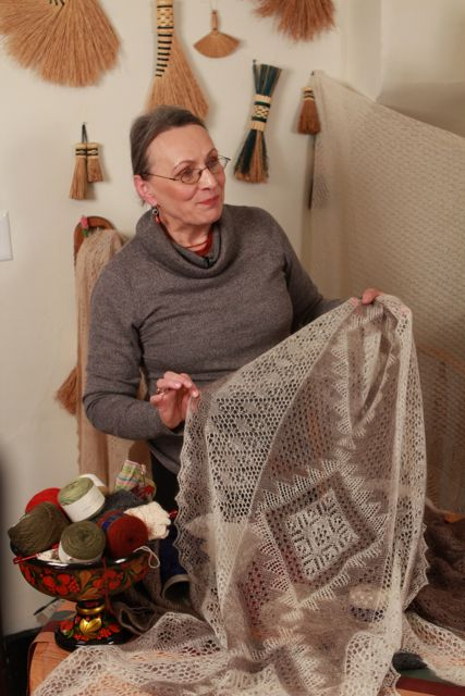 These are behind the scenes photos from the video shoot for Orenburg Knitting: Knitting Gossamer Webs.