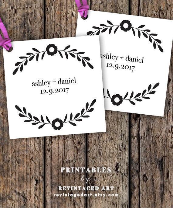 Printable Wedding Favor Tag Template // Editable Gift Tags with Floral ...