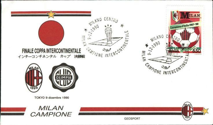 Sobre del Primer día de emisiones postales Italianas, del 9 de Diciembre de 1990, alusivo a la final por la Copa Intercontinental en Tokio, entre las escuadras de AC MILAN Vs OLIMIPA DE PARAGUAY.