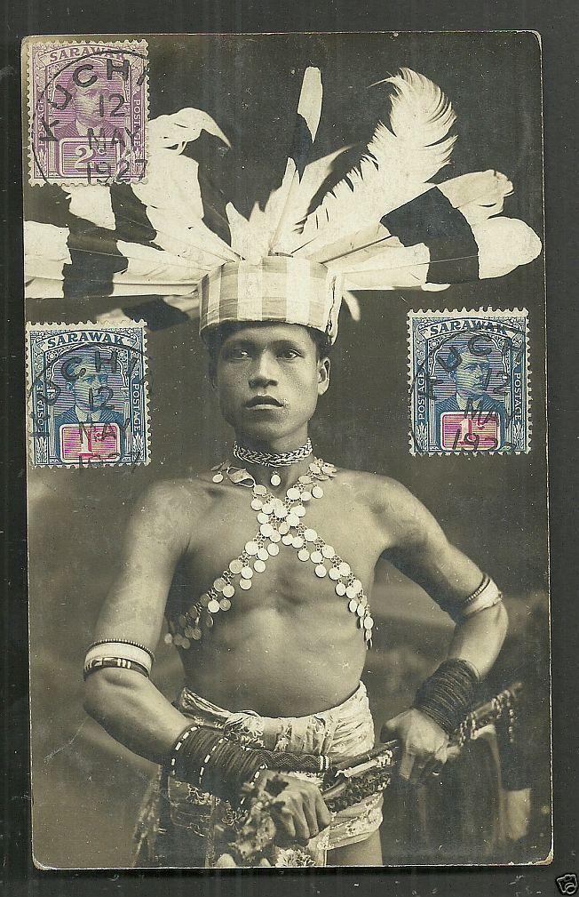 Dayak Warrior rppc Kuching Sarawak stamps Malaysia 1927 mixed franking V.C. collection