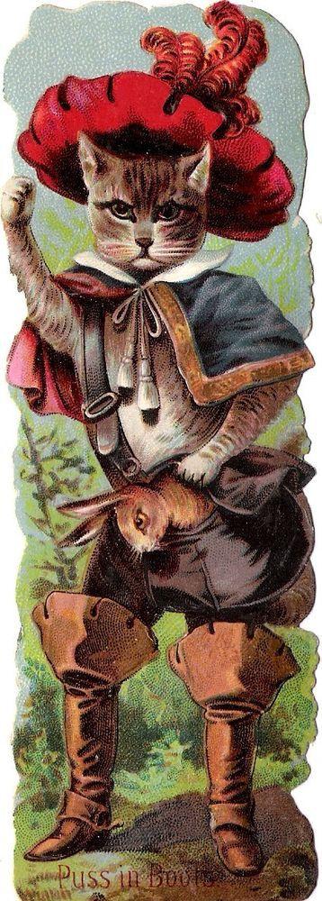 Oblaten Glanzbild scrap die cut  Märchen fairytale gestiefelter Kater Puss boots