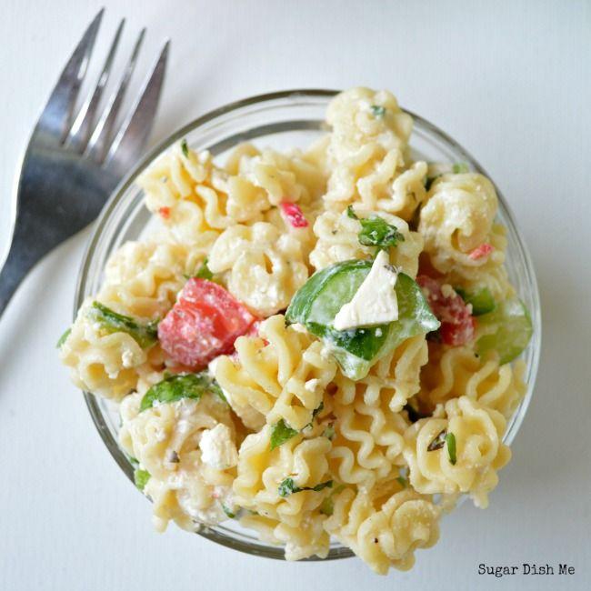 Healthy Spinach and Feta Greek Pasta Salad - Sugar Dish Me