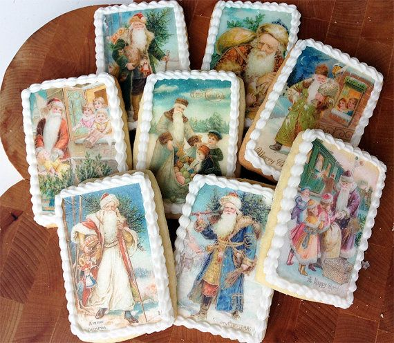 Vintage Christmas Victorian Santa Claus Wafer Papers for Cookies - Edible Images 1