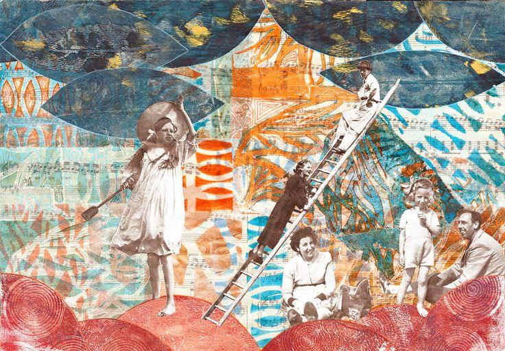 mixed media 102 gelli plate met sjablonen en stempels op deli paper, muziekpapier, collage, posca
