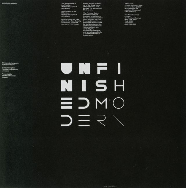 Vignelli Associates (Massimo Vignelli & Michael Bierut) — Unfinished Modern (1984)