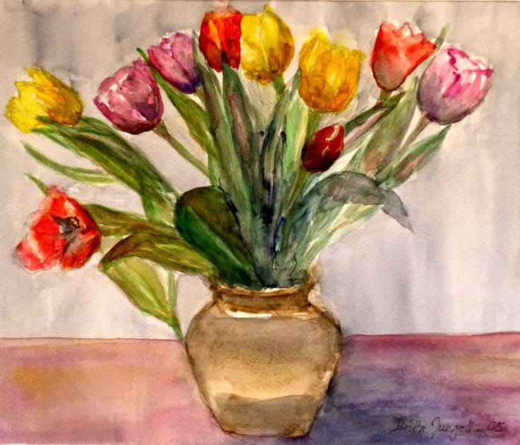 """Tulips in a ceramic vase"" Original watercolor painting by Britta Bergström-Jungell."