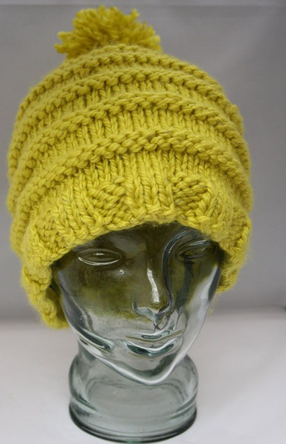 Hand knit bulky beanie bobble hat Lumio yarn by sweetygreetings, £10.80