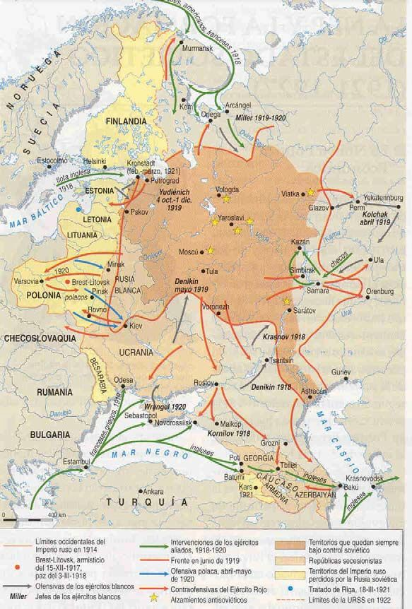 La revolución bolchevique y la guerra civil rusa.