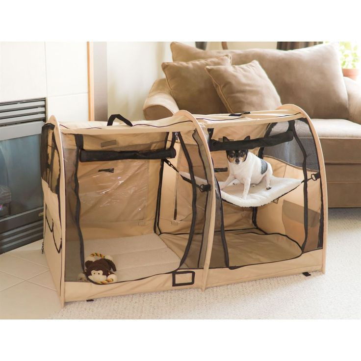 portable dog kennels showing dog relaxing in pet perch