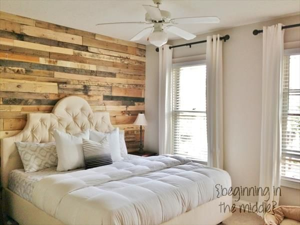 DIY Pallet Wall Makeover for Bedroom | We love this idea of making a tremendous wooden DIY wall through pallet wood. #DIYready