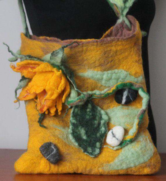 felted handbag  /sunflower and stones / by RozalkaFeltAndWool