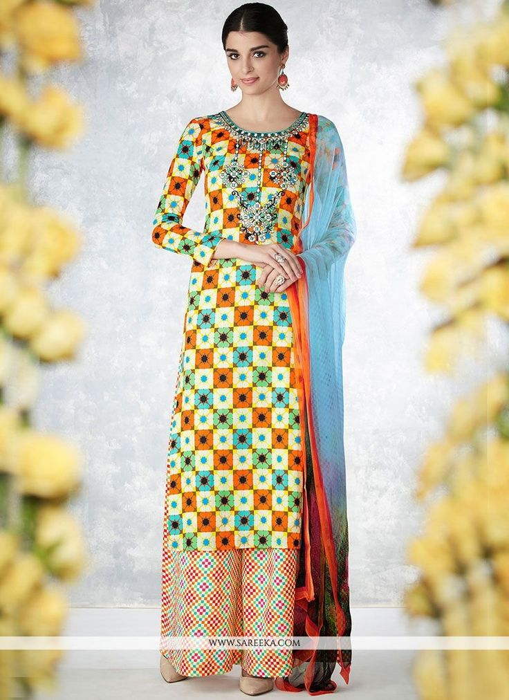 Stand out from rest with this multi colour cotton   palazzo designer salwar suit. This attire is nicely designed with embroidered and print work. Comes with matching bottom and dupatta. (Slight variat...