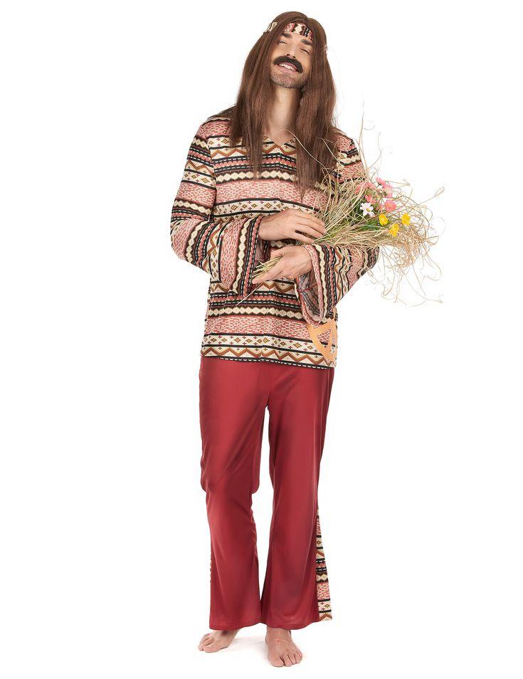 Costume bordeaux da hippie per uomo su VegaooParty, negozio di articoli per feste. Scopri il maggior catalogo di addobbi e decorazioni per feste del web,  sempre al miglior prezzo!