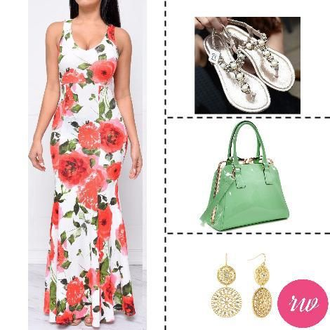 Cute Weekend Outfits - Floral Dress with Gold & Green Accessories. www.rosyweekend.com