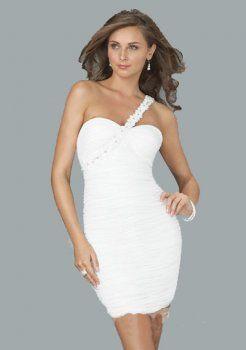 gaine fantastique une épaule court / mini chiffon robes de soirée courtes charmeuse