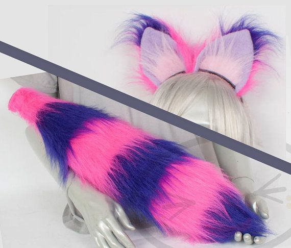 Fluffy Cheshire Cat Ear and Tail Set Cosplay, Accessories, Costume