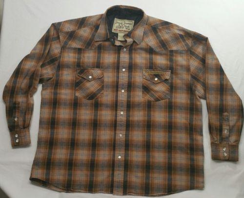 Jesse James Men's Shirt XL Work Wear West Coast Choppers Orange Plaid