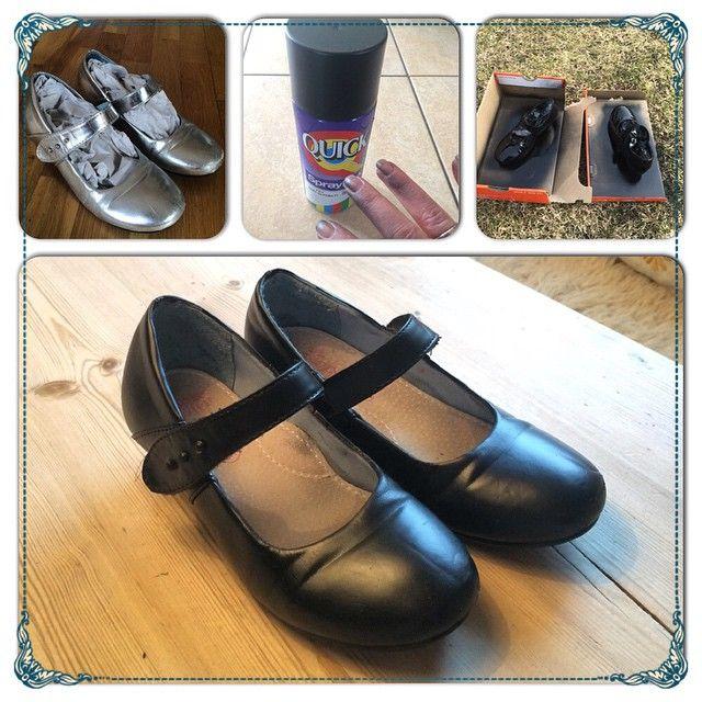 Et par pensko i sølv som ikke lenger var populære hos 6-åringen har fått en omgang med matt spraylakk. Nå er de poppis igjen  Jeg puttet papir oppi de slik at de ikke ble farget inni. Og et lite tips - husk å ha på hansker slik at du slipper farge på fingrene...  #diy #gjørselv #gjørdetselv #gjenbruk #spraylakk #shoes #recycle #doityourself #spraypaint #nygamlesko #girlsshoes #rom123 #kamille