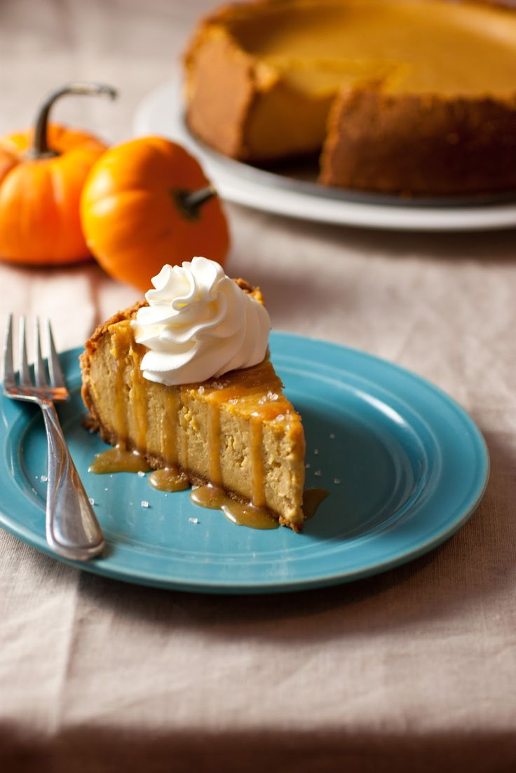 Pumpkin Cheesecake with Salted Caramel Sauce - yes please. Still have pumpkin. Yes. Yes yes.