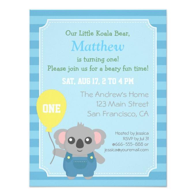 1253 best boy birthday invitations images on pinterest boy cute koala bear boy birthday party 425x55 paper invitation card stopboris Gallery
