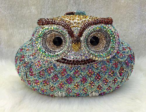 Atacado Sacos de Embreagem - Comprar 2013 Forma animais coruja Único diamante multicolorido Cristal Partido Clutch Pedrinhas Ponte Maid Eveni ...
