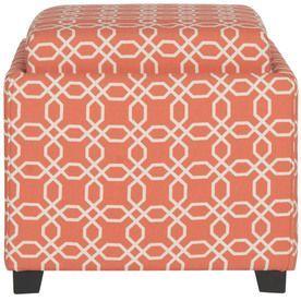 Safavieh Hudson Orange/White Square Storage Ottoman Hud8233s