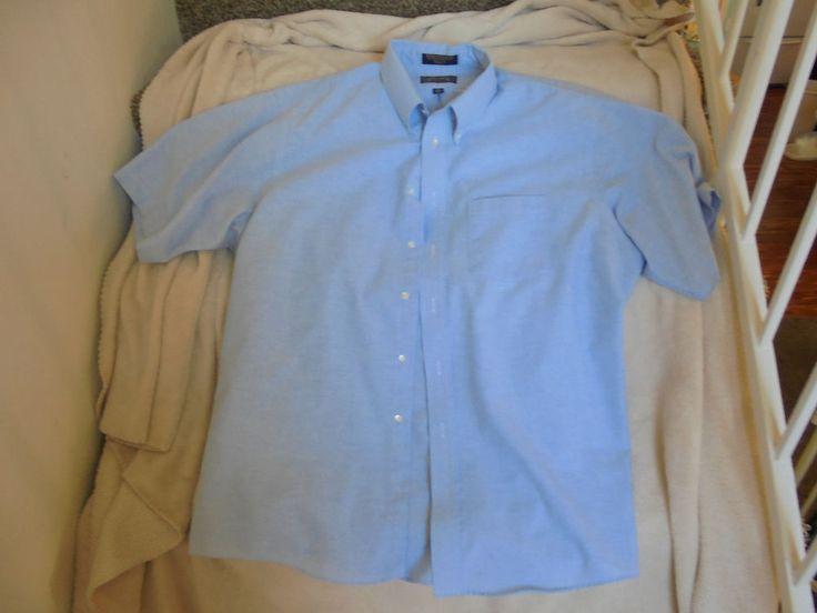 THE ARROW COMPANY BLUE WRINKLE FREE OXFORD SHORT SLEEVE DRESS SHIRT SZ 18  #Arrow