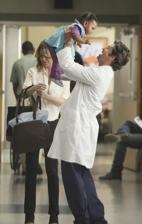 Derek and Baby Zola on the Grey's Anatomy Season 8 Premiere on September 22, 2011
