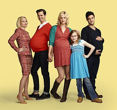 THAT'S AMERICA AND I LOVE IT!  Ellen Barkin as Jane, Andrew Rannells as Bryan, Georgia King as Goldie, Bebe Wood as Shania, Justin Bartha as David  The New Normal / #NewNormal