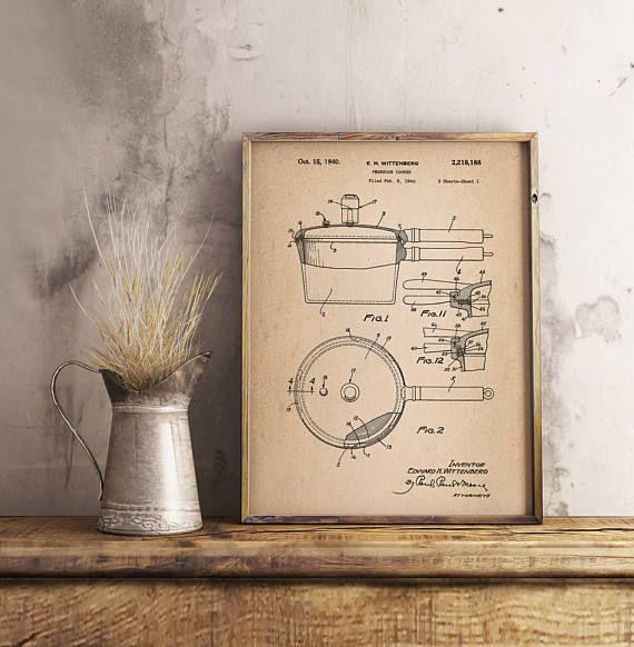 Pressure Cooker Patent Kitchen Wall Decor Kitchen Wall Art