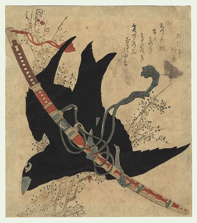 Hokusai (1760 - 1849) Japanese Woodblock Print Crow and Sword Surimono (via Fuji Arts Japanese Prints)