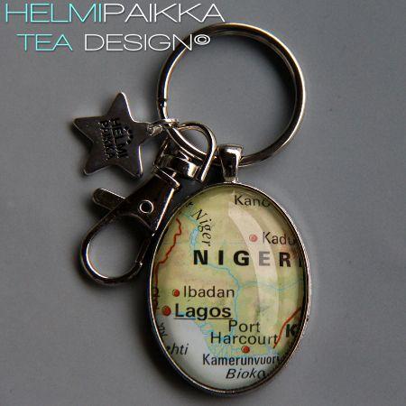 Tilaustyönä Lagos kartta-avaimenperä <3