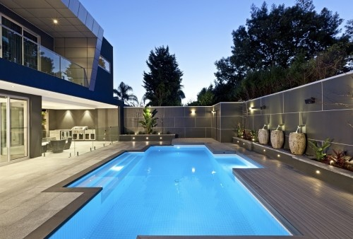 white tiled courtyard pool with bluestone coping. love the lines and clean look.