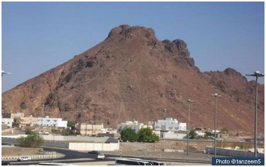 "Mount Uhud and site of battle This is a section of Mount Uhud, in front of which the second battle in Islam (the Battle of Uhud) took place in 3 AH. Of this mountain the Prophet (peace and blessings of Allah be on him) declared, ""This mountain loves us and we love it."" [Muslim]"