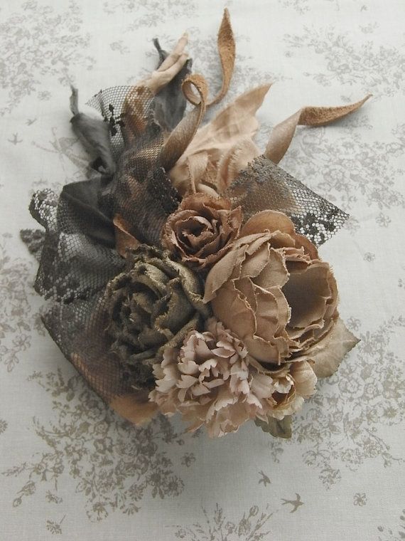 corsage sepia hand dyed by kikosattic on Etsy