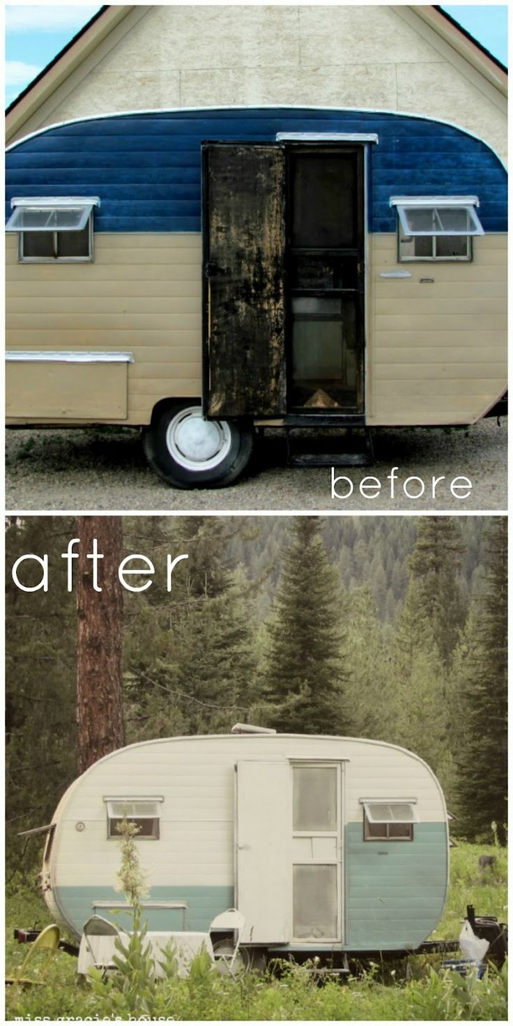 Best Caravan Decor And Makeover Images On Pinterest Tiny - Old shabby trailer gets one hell makeover