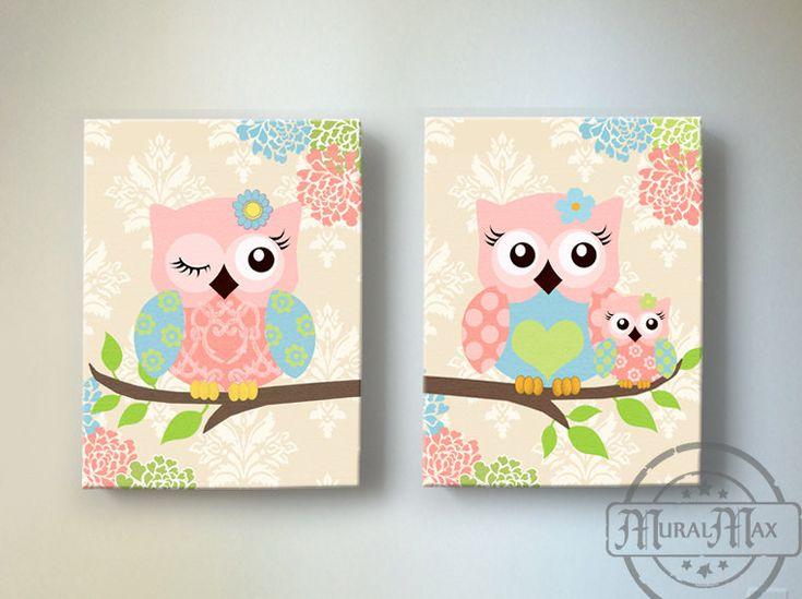 Kids Wall Art Owl Nursery Baby Girl Owl Decor Owl by MuralMAX, $102.00