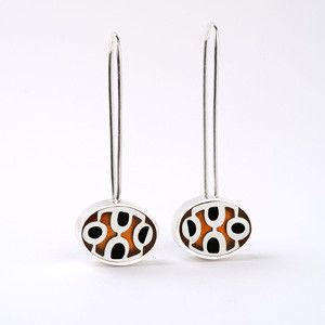 Victoria Varga - Sterling Silver Mod Earrings with Onyx & Copper Inlay