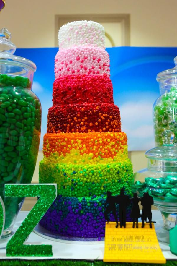 Wizard of Oz Themed Party!The 7 layer candy rainbow cake!!!!