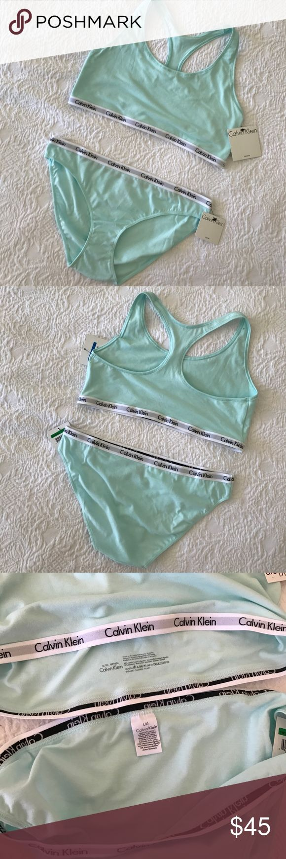 Calvin Klein new bra underwear set mint bikini This adorable cotton underwear set is brand new with tags! Beautiful mint green/blue color. Size XL top Size L bottoms. I like to get one size up in CK Bra and down in bottoms. However I'm also willing to sell separately :) Calvin Klein Intimates & Sleepwear Bras