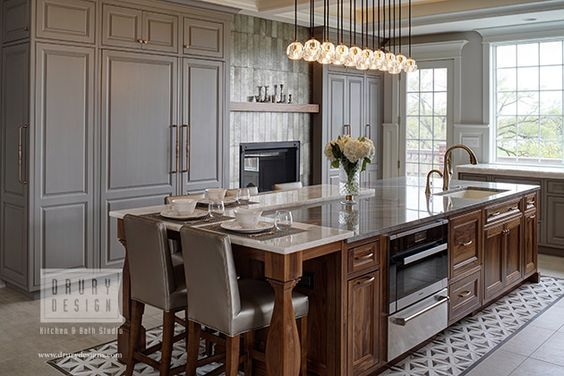 Transitional kitchen design with two-toned cabinets in a gray glaze