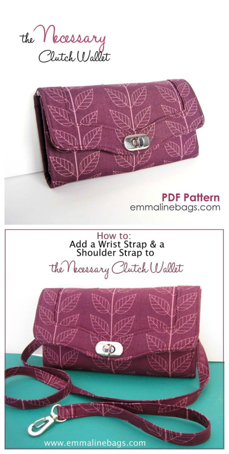 The Necessary Clutch Wallet Sewing Pattern: A Large wallet with card slots and room for your Cell Phone.  Option to add straps. Very active and helpful Facebook group for this pattern - I was able to make this beautifully with all of their suggestions.