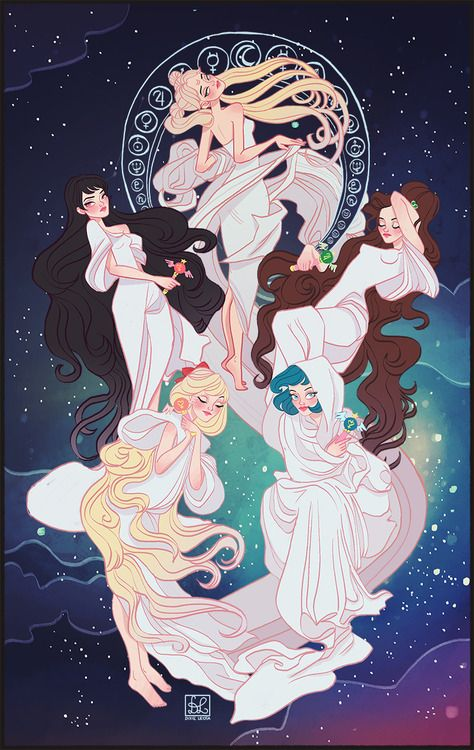 sailor moon fan art. I'm getting an Art Nuevo/Greek feel from this, which is perfect because that's what a lot of Sailor Moon artwork looks like. I like this artists' style. Visual. Related/Inspirational. Internet.