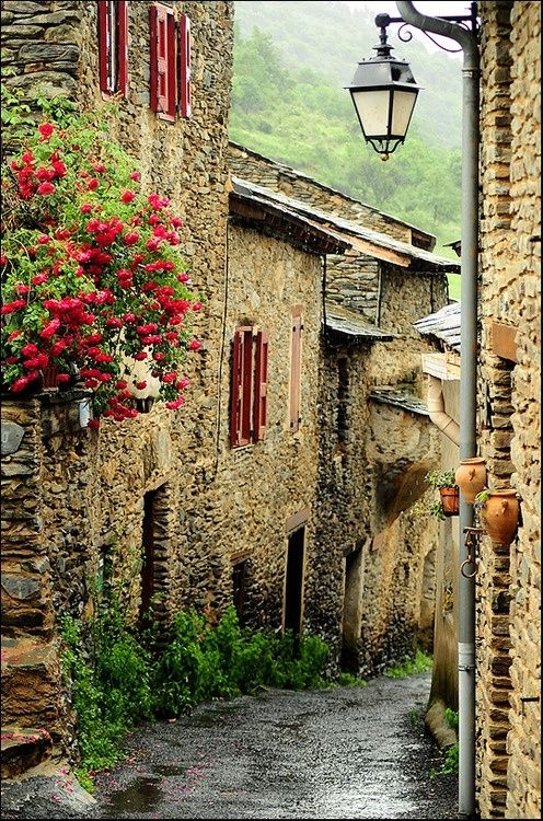 Évol - Olette, France.  The hamlet of Evol is attached to the village of Olette and is overlooked by the old fortress of the Viscounts of So and the steeple of its Romanesque church.